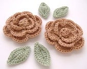 "Copper Brown 1-3/4"" Crochet Rose Flower Embellishments w/ Leaves Handmade Scrapbooking Fashion Accessories Appliques - 6 pcs. (3250-02L)"