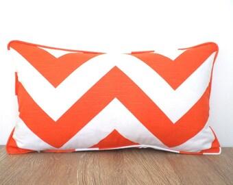 Orange chevron pillow case  21x11, chevron lumbar cover, geometric cushion cover , orange sofa pillow, orange cushion dorm room decor