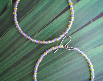 Lavender & yellow striped hoops