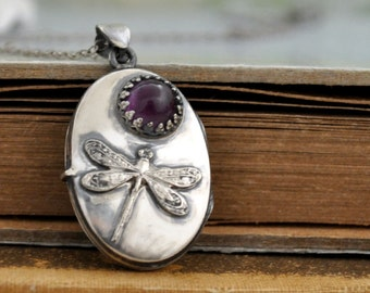 sterling silver locket necklace - DRAGONFLY - vintage style dragonfly with purple amethyst locket necklace antiqued sterling silver