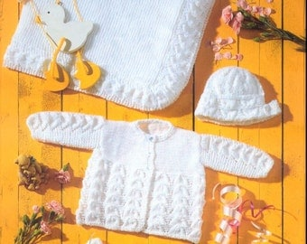 Baby KNITTING PATTERN Baby matinee Jacket, Shawl, Mitts, Bonnet and Bootees - Prem sizes through to 2 years