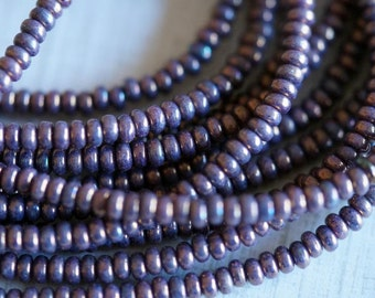 3mm Opaque Purple Bronze Rondelle - Small Rondelle - Donut - Czech Glass Beads - Picasso Donut - Bead Soup Beads