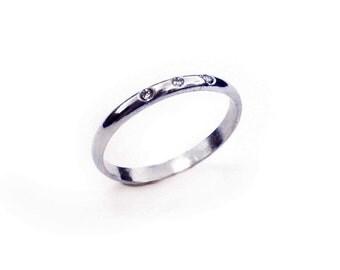 Three Stone Diamond Ring - Simple Ring, Diamond Wedding Ring, Flush Set Diamond Band, Sterling Silver Band, Stacking Ring, Silver Ring