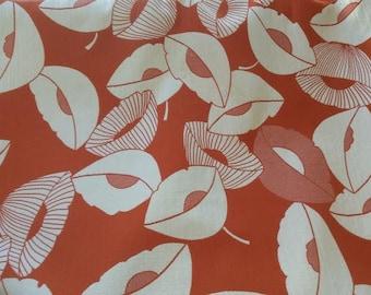 ART DECO orange TULIPfloral woven in white cotton upholstery fabric home decor