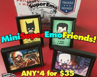 Any 4 mini emo prints WITH FRAME