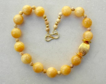 Golden Honey, 24K Gold-Plated Bead & Gold Wavy Disks, Real Jade and Small Jasper Beads, Chunky Asymmetrical  Necklace by SandraDesigns