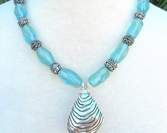 Pearl Surprise in Oyster Shell, Detachable Pendant, Pin Opens, Old Aqua Glass & Silver, Sea Treasures, Versatile Necklace by SandraDesigns