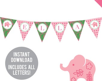 INSTANT DOWNLOAD Pink Elephant Party - DIY printable pennant banner - Includes all letters, plus ages 1-18
