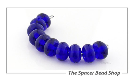 SALE 45% off - 7mm COBALT Blue Lamp Work Beads Spacers Glass Handmade - The Spacer Bead Shop