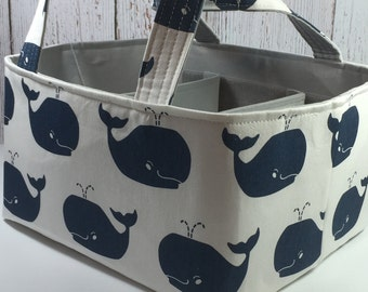 Baby Organizer, Diaper Caddy, 12 X 10 X 7 Whale Fabric Basket bin with adjustable and removable dividers CHOOSE YOUR COLOR