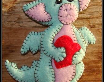 Dragon Baby magnet-dragon ornament-dragon collectible, handmade felt embroidered dragon