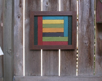"""Colorful Cedar Outdoor Wall Art with Rustic Frame made with Reclaimed Wood - 16"""" x 19"""" - Only One Available"""