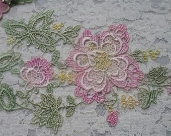 Venise Lace Pink Green Flower  Spray Hand Dyed  Applique Motif Embellishment