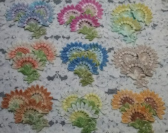 Sun Flower Venise Hand Dyed Lace Applique Motif Crazy Quilt Embellishment