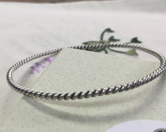 Sterling Silver Cable Style Hand Twisted Bangle Bracelet