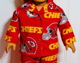 FOOTBALL Kansas City Chiefs Cotton Pajamas fit 18inch Dolls  Proudly Made in America