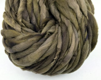 Thick and thin super bulky yarn in hand dyed merino wool - 49 yards and 3.1 ounces/ 88 grams