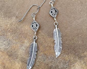 Free Spirit Jewelry Feather Charm Earrings  Celtic Knot Best Girlfriend Gift Boho Earrings  Bestie Friendship  Relationship Symbolic Jewelry