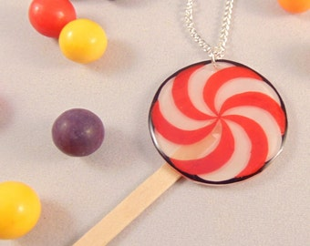 Lollipop Candy Pendant with Silver Plate Chain