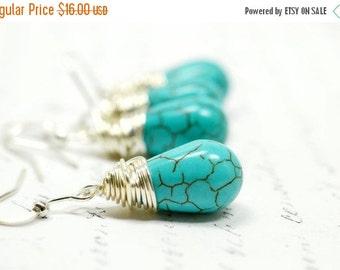 SALE Faux Turquoise Teardrop Earrings, Oasis Blue Jewelry, Ocean Blue Beach Weddings Wire Wrapped Briolette Earrings, Southwestern Boho Jewe