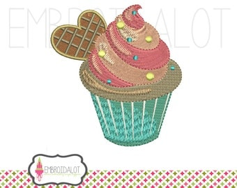 Cupcake embroidery design. Yummy cupcake machine embroidery. Cute embroidery download, instant download.