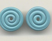 Tom's lampwork opaque marina turquoise blue 2 disc spacer set, 1 pair 96510