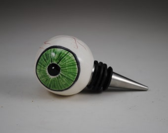 Green Ceramic Eyeball Wine Stopper with Heavy Duty Metal Bottom Eyes