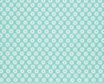 Aqua Blue Little Flowers by Tanya Whelan for Free Spirit Fabric - quilt cotton