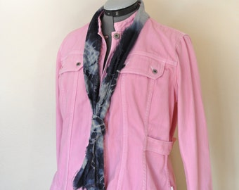 "Pink Large Cotton JACKET - Pastel Pink Dyed Upcycled Vinrage Liz Claiborne Cotton Trucker Jacket - Adult Womens Size Large (44"" chest)"