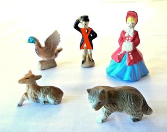Vintage Miniature Figurines, Woman Christmas Caroler, Duck, Deer, Fox, You Pick, 40s or 50s Era, Made in Japan