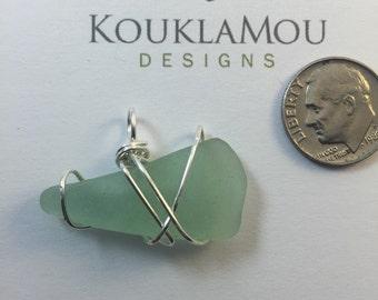 Green sea glass pendant - genuine