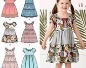 Girls' Easy Dress Pattern, Peasant Dress Pattern, Little Girls' Pullover Dress Pattern, Sz 3 to 8, Simplicity Sewing Pattern 2377