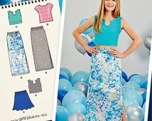Tween Girls' Stretch Knit Crop Top Pattern, Girls' Long Skirt Pattern, Girls' Easy Flared Skirt Pattern, Simplicity Sewing Pattern 1124
