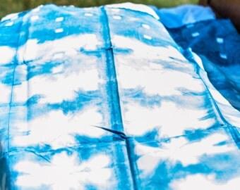 Indigo Shibori dyed Kona Cotton by the yard