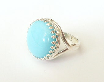 Pastel Blue Glass Ring, Sterling Silver Ring, Vintage Glass Cabochon, Pastel Ring, Candy Ring, Summer, or Choose Gold, Rose Gold or Bronze