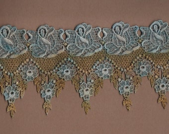 Hand Dyed Venise Lace Victoriana  Aged Copper Turquoise