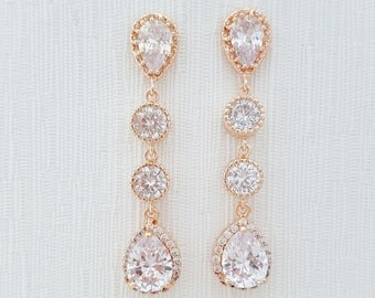 Rose Gold Earrings Wedding Jewelry Cubic Zirconia Teardrop Earrings Rose Gold Bridal Jewelry, Rebecca