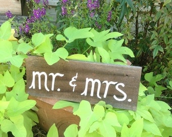 Aged Barn Wood Mr and Mrs Sign Lowercase Script Lettering Western Rustic Reception Table Wedding Photo Prop