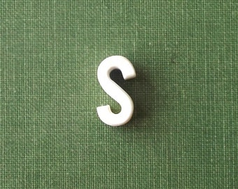 vintage 1930's white ceramic lowercase letter s small little old antique porcelain decorative home decor retro personalized name initial