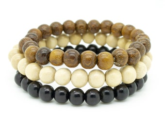 Mens black natural and robles brown triple pack wooden beaded stretch bracelets