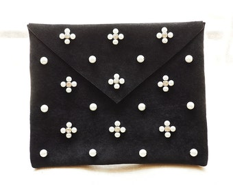 Pearl & Diamond Embellished Leather Clutch