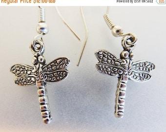ON SALE Cute Vintage Silver Tone Dragonfly Earrings
