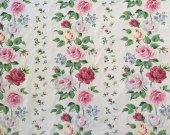 Vintage Cottage Style Shabby Chic Floral Fabric
