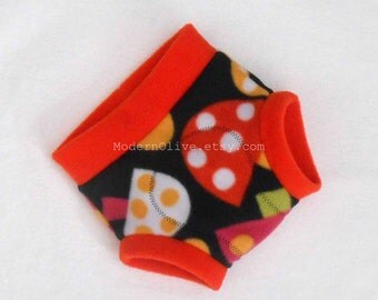 Medium Retro Toadstool Fleece Fitted Diaper Soaker/Underpant Cover, Bright Orange Green Black Yellow White Magenta Polka Dot Vegan
