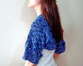 Blue Hand Knit Sweater Jacket Wedding bolero Womens Knit Jacket Half sleeve Sweater Cardigan size Medium