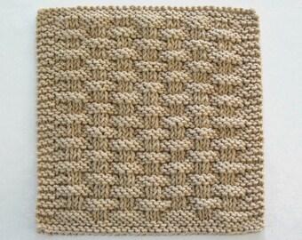 Cotton Dishcloth Knit Basketweave Dishcloth Knitted Washcloth Beige Brown Neutral Kitchen Decor