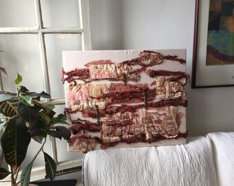 Beaded Fiber Art Wall Hanging Quilted Textile Art Tapestry - These Walls Talk