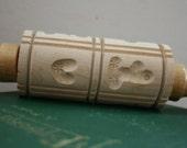 Vintage German Carved Wooden Embossing Springerle Cookie Rolling Pin 8 Cookie Molds