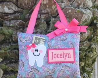 Personalized Tooth Pillow--BALLERINA SHOES Tooth Fairy Pillow-----Ships next day
