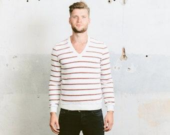 VELVET Sweatshirt . Striped Vintage 80s Men's White Sweater Red Blue Sports Sweater Jumper Sportswear Hipster Boyfriend Gift . Small Medium